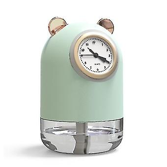 Mini nawilżacz USB, nawilżający dyfuzor zapachowy gospodarstwa domowego, z zegarem (Zielony)