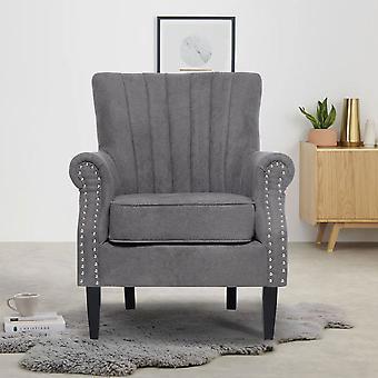 Grauer Samt Einsitzer Sofa Sessel