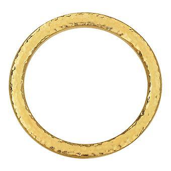 Forbindelsesforbindelse, Hammertone Ring 31,5 mm, 1 stk., lyst guld, af TierraCast