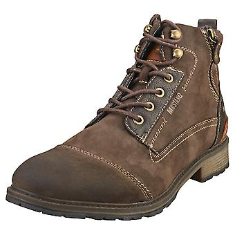 Mustang Lace Up Side Zip Mens Casual Boots i Mörkbrun
