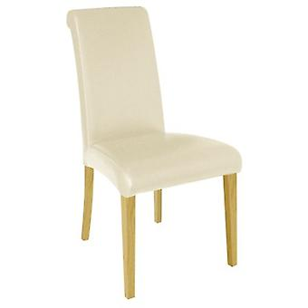 Stella Cream Leather With Oak Effect Legsbanquet Chair / Pack Of 8