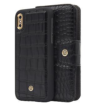 iPhone X / Xs Marvêlle Magnetisk Skall & Lommebok Svart Krokodille