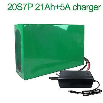Batterij met oplader 5a 21ah 72v Li-ion 18650 oplaadbare elektrische tweewielige motorfiets ebike accepteren aanpassing 20s7p 270 * 190 * 70m