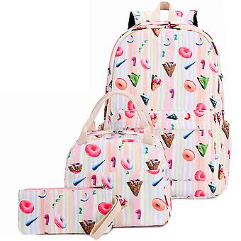 3pcs Multi-colored Casual Girl School Backpack Set
