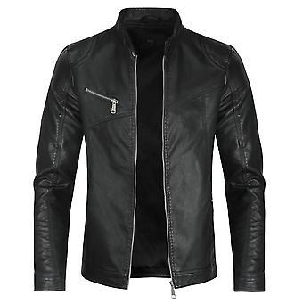 Mile Men's Solid Color Zip Casual Leather Jacket Coat Biker Jacket Slim Top