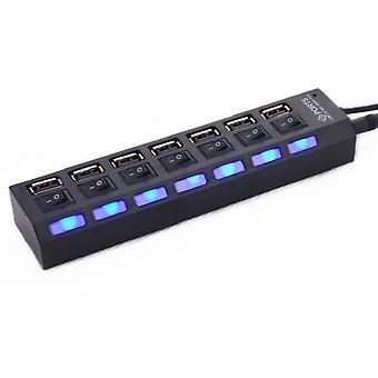 7 Ports USB Hub Led Usb High Speed 480 Mbps Adapter USB Hub mit Power On Off Schalter für PC Laptop Computer PC Laptop mit Ein / von