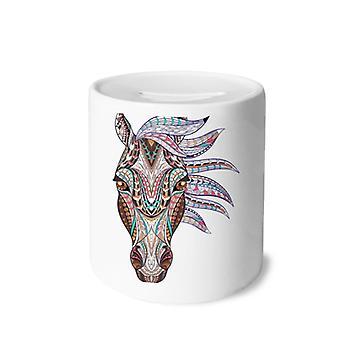 Buntes Pferdedesign Keramik Sparschwein