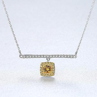 925 Sterling Silver Link Chain Necklace&Pendant Citrine  Fasinating Fine Jewelry |Necklaces