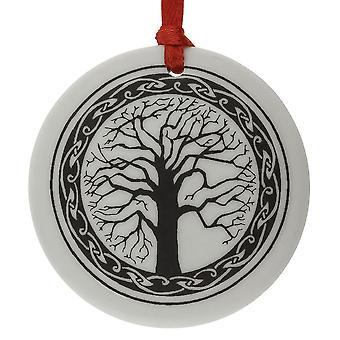 Hecho a mano celta sagrado árbol de la vida ronda forma porcelana Navidad / recuerdo '
