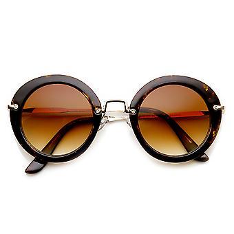 Womens Fashion Retro übergroßen Metall Tempel Runde Sonnenbrille