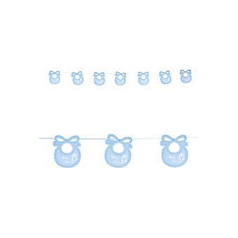 Partij gunsten baby douche garland met blauwe bovenstuk 2,75 m