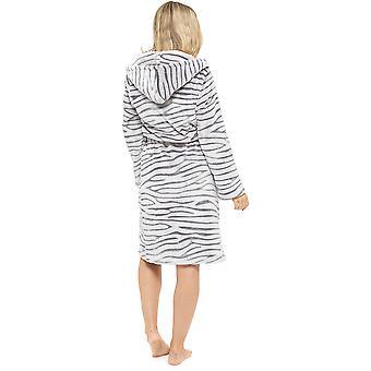 Ladies Supersoft Varm Hvit Tiger Fleece Hette Wrap Over Nightwear Badekåpe Kjole