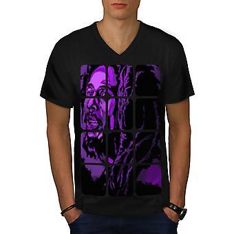 Bob Marley Face Celebrity Men BlackV-Neck T-shirt | Wellcoda