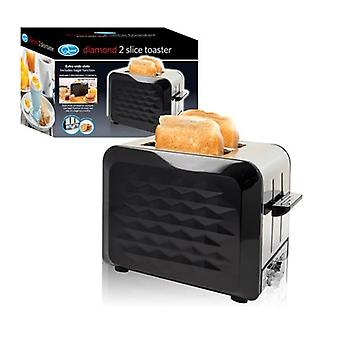 Black Stainless Steel  2-Slice Diamond Design Toaster With Extra Wide Slots