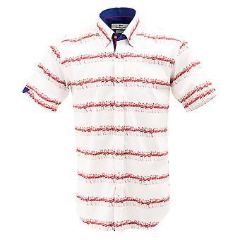 Клаудио Lugli Фламинго печати короткий рукав Мужская рубашка