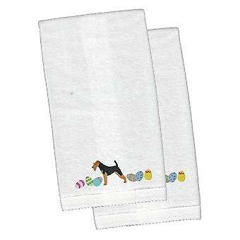 Airedale Terrier Easter White Embroidered Plush Hand Towel Set of 2