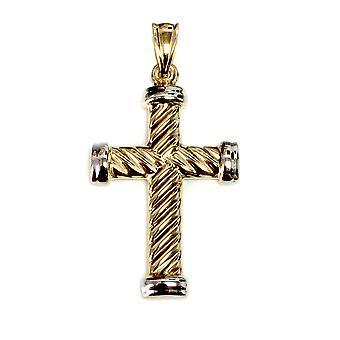 14k gul guld parsnoet kabel kryds Herre vedhæng, 25 X 15 mm