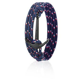 Nylon di skipper ancoraggio braccialetto bracciale in rosso e blu con ancoraggio nero 6974