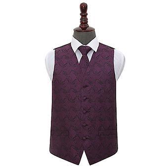 Purple Paisley Wedding Waistcoat & Tie Set