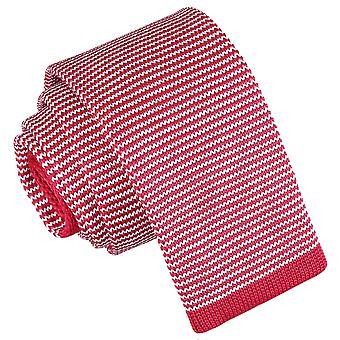 Vita och röda Pin Stripe stickad smal slips