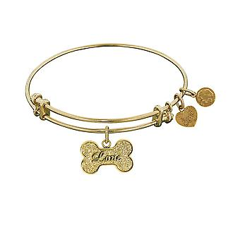 "Stipple Finish Brass Bone With Love Angelica Bangle Bracelet, 7.25"""