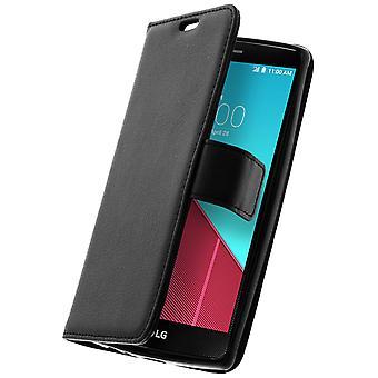 Flip wallet case, slim cover voor LG G4, siliconen reservoir - zwart