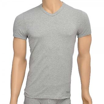 Versace Titan Stretch-Baumwolle v-neck T-Shirt, grau, XL