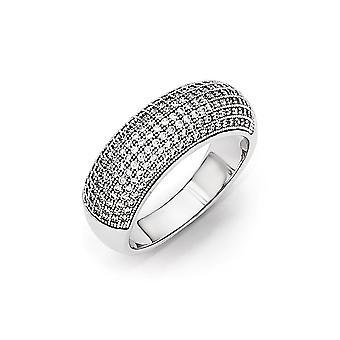 925 plata esterlina pave rhodium plateado y CZ Cubic Zirconia simulado diamante elegante anillo pulido joyería regalos para Wo