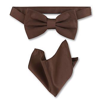 Vesuvio Napoli BowTie szilárd férfi csokornyakkendő & zsebkendőjét