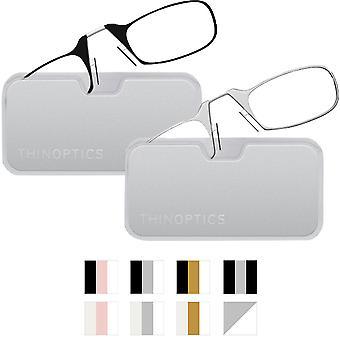 ثينوبتيكس تأمين نظارات القراءة خفيفة Armless تناسب مع الانتهاء من المعادن جراب