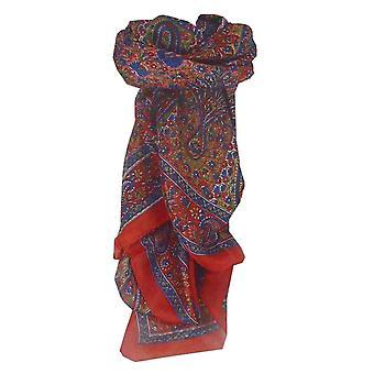 Amoreira seda tradicional lenço quadrado Solan vermelho por Pashmina & seda