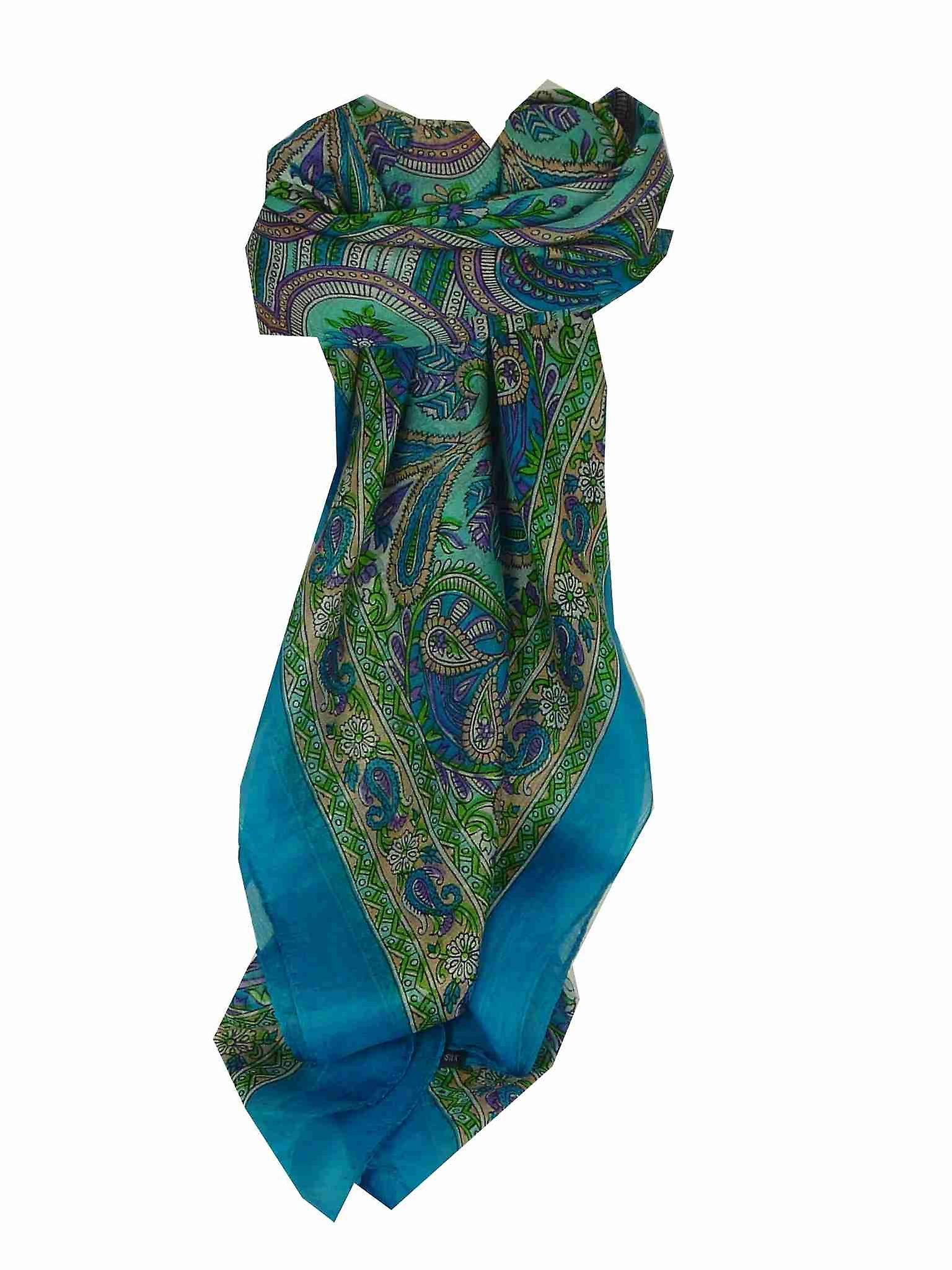 Mulberry Silk Traditional Square Scarf Colaba Blue by Pashmina & Silk