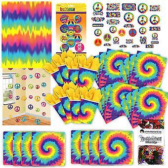 anos 60 hippie festa arco-íris conjunto XL 80-teilig para o pacote de festa de decoração de 60ies de 8 convidados