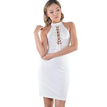 Lovemystyle spets upp Halterneck klänning i vitt