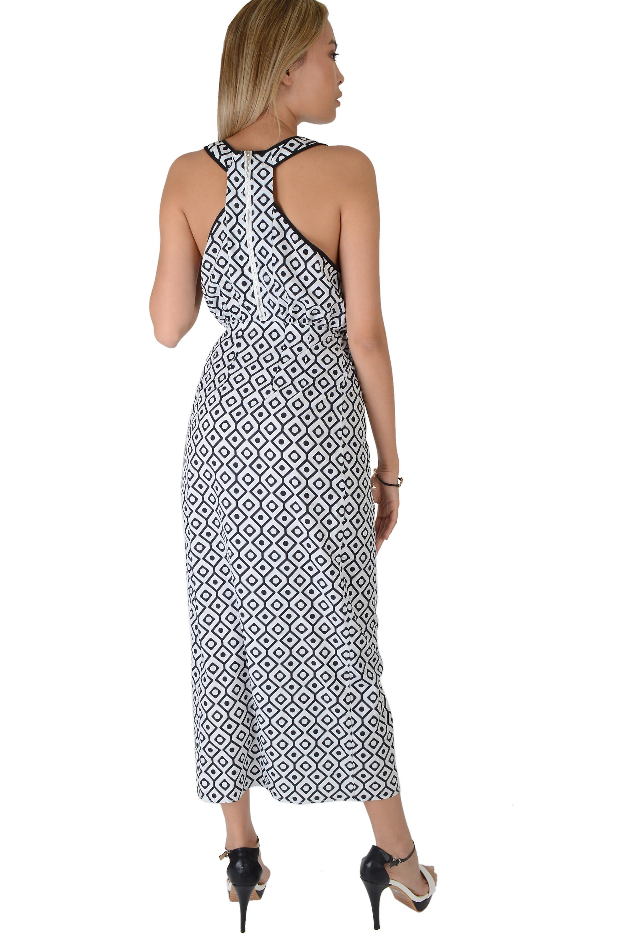 LMS White And Blue Geometric Maxi Dress With Racer Back - SAMPLE