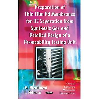 Preparação de película fina Pd membranas para separação de H2 do gás de síntese e detalhada Desi...