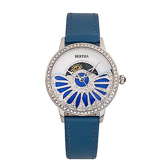 Bertha Adaline Mother-Of-Pearl Leather-Band Watch - Teal