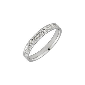 Star Wedding Rings 18ct White Gold 0.10 Carat Diamond 3mm Wedding Ring