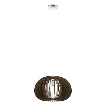 Eglo - Cossano enkelt lys Oval loft vedhæng i Satin nikkel og mørke træ Finish EG94638
