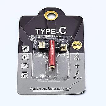 Fej USB-C 3,5 mm Jack audió adapter-piros