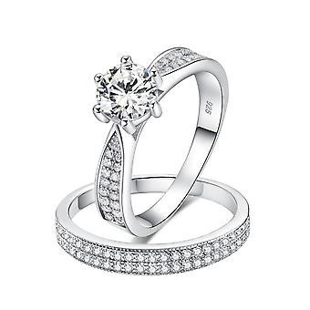 925 Sterling Silver Brilliant Pave Engagement Wedding Ring Set