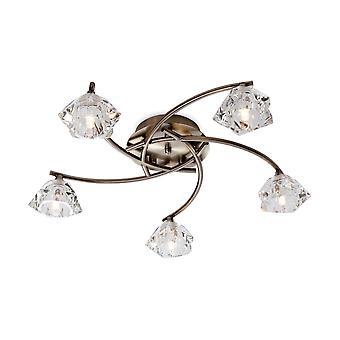 Firstlight-5 valo väri katto valaisin antiikki messinki, kirkas lasi-8365AB