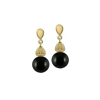 Eternal Collection Solitaire Black Pearl Gold Tone Drop Clip On Earrings