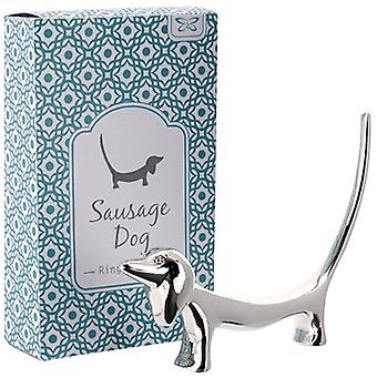 Gift Boxed Silver Plated Sausage Dog Ring Holder
