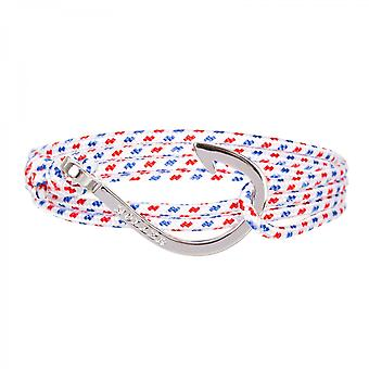 Holler Kirby  Silver Polished Hook / White, Blue and Red Paracord Bracelet HLB-03SRP-P01