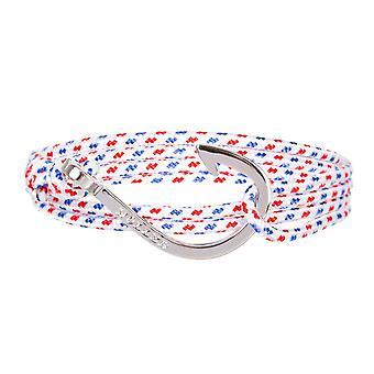 Holler Kirby plata pulido gancho/blanco, azul y rojo paracord pulsera HLB-03SRP-P01