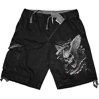 Spiral Direct Gothic ASCENSION - Vintage Cargo Shorts Black|Skulls|Wings|Tribal
