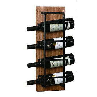 Stojan na víno drevo/kov pre 4 fľaše hnedé