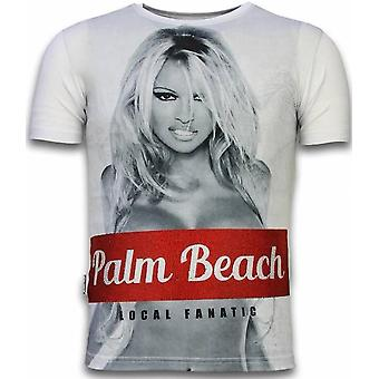 Palm Beach Pamela - T-shirt Rhinstone numérique - Blanc