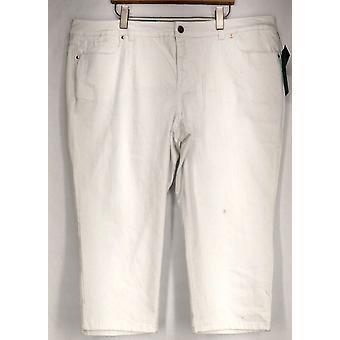 INC Plus Jeans Slim Tech Fit Cropped Denim Bianco Donne